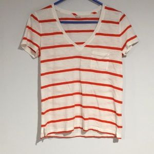 Madewell VNeck T-Shirt White w/Orange SzSmall